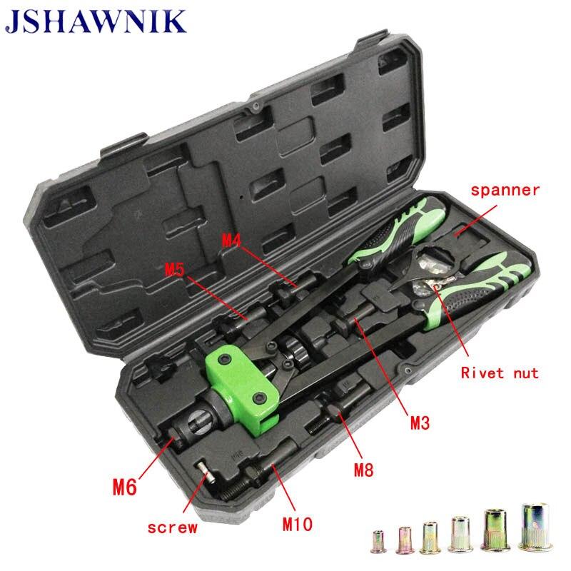 O Envio gratuito de New 14 Arma Porca Rebite 360mm M3 Para M10 Mão Rebitador Manual Alças Duplas Pistola de Pregos rivnut Parafuso Arma rebitador Arma