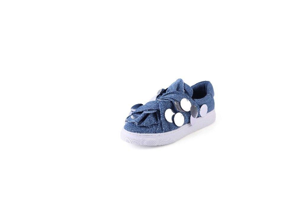 Pink Sur Mode Chaussures Bleu Krazing Bling Fée Vulcanisé Concise Sneakers Style Bas Rond Pot De Glissement Denim light Preppy Décoration L12 Bout wZXOPkiuT