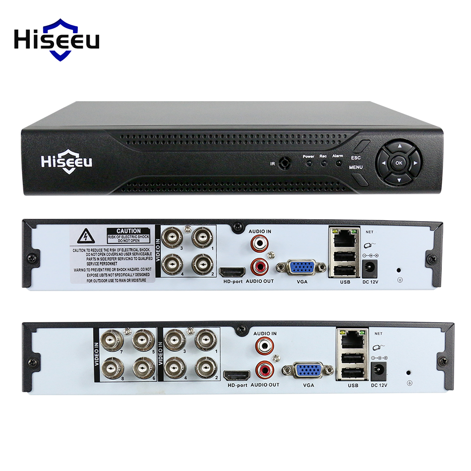 Hiseeu 4CH 8CH 1080N 5 in 1 DVR video recorder for Analog AHD camera IP camera P2P cctv system DVR H.264 VGA HDMI output XMEYE hiseeu 8ch 960p dvr video recorder for ahd camera analog camera ip camera p2p nvr cctv system dvr h 264 vga hdmi dropshipping 43