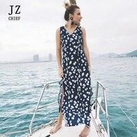 JZ CHIEF Floral Print Chiffon Long Dress Women Backless 2018 Summer Split Maxi Dress Vestidos Sexy