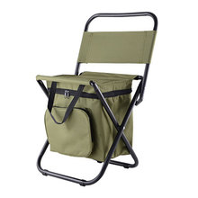 Fishing Chair Movable Refrigerator Keep Warm Cold Portable Folding Beach Chair about 1350g Seat Camping 100kg Chairs with Pocket cheap Outdoor Furniture Modern MAGIC UNION as show HH4247 Steel Pipe with Oxford Weight about 1 35kg Steel Frame Simple maza stool