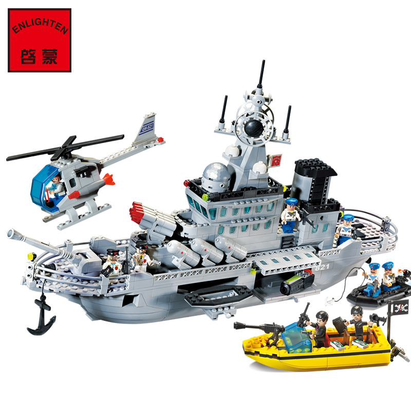 ENLIGHTEN 821 CombatsZone Military Navy Missile Cruiser Warship Helicoper Model Building Blocks minifig Kids Toys enlighten building blocks navy frigate ship assembling building blocks military series blocks girls