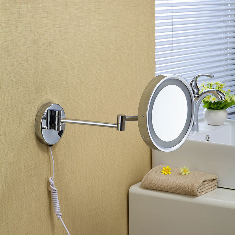 High Quality 8 Brass One Side Magnifying Bathroom Wall Mounted Round Led Cosmetic Makeup Mirror With Lighting Mirror 1238 brass wall mounted ribbon lamp 8 5 round double side cosmetic mirror silver 220v