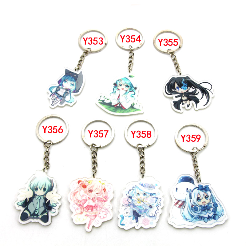 7pcs/set Anime Keychain Hatsune Miku Black Rock kimono Miku traditional Character Portachiavi Collect Keyring Llavero Pendant