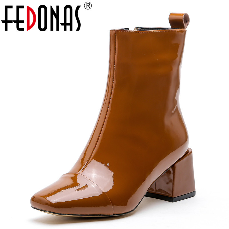FEDONAS New Women Mid-calf Boots Square Toe Party Wedding Shoes Woman Zipper High Heels Patent Leather Prom Pumps Autumn Boots fedonas 1new women mid calf boots autumn winter warm high heels shoes woman pointed toe elegant bling party prom dancing pumps