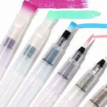 New 6Pcs/set Water Color Brush Refillable Pen Watercolor Color Drawing Art Supply