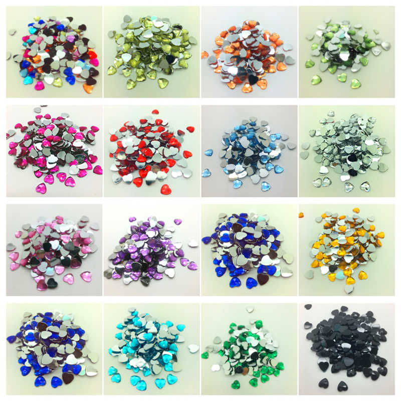 6mm 8mm 10mm Flat Back Heart-shaped Acrylic Beads Resin Rhinestone Scrapbook For Jewelry Making