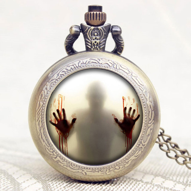 The Walking Dead Souvenir Pocket Watch Scary Hands Pattern Watches Gift for The