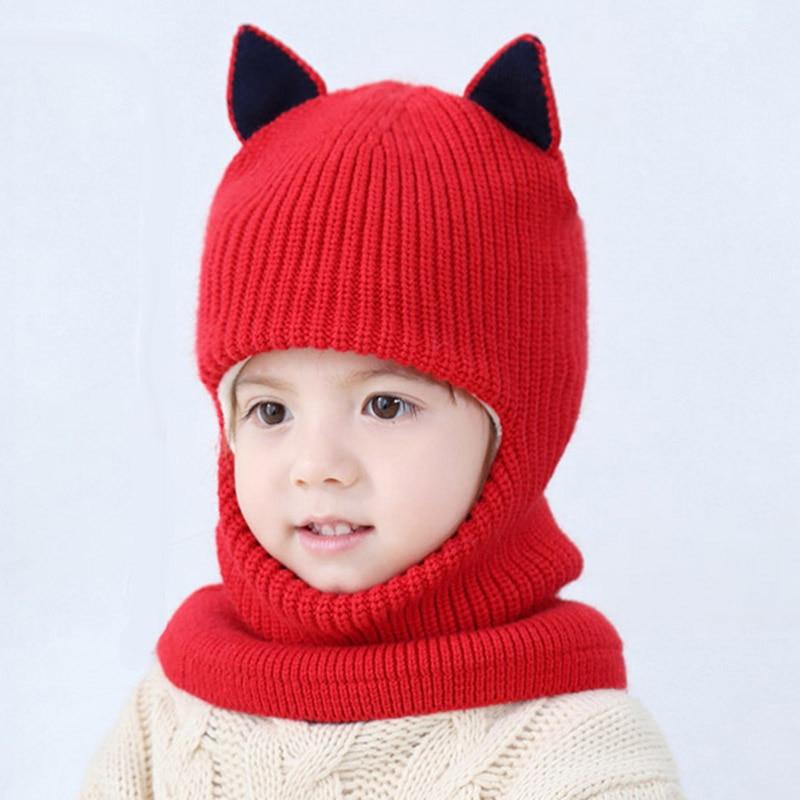 2f217aedeed57 MAERSHEI 2018 new baby girl winter hat warm and velvet Beanies Knitted Cap  Kids Balaclava Mask Hats Gorras