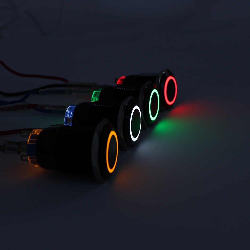 19mm לדחוף כפתור שחור גוף bule צהוב whilte ירוק orange אדום טבעת אור קיבעון כפתור מתג נעילה עמיד למים/ רגעי