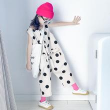 Girls Dot overalls 2019 summer new loose pockets jumpsuits teenage sleeveless Cropped trousers children clothes for 4-14Y ws818