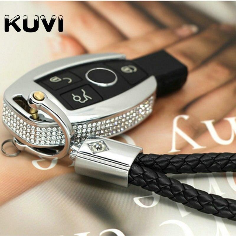 Pembe siyah lüks elmas deri anahtarlık anahtarlık kapak kılıf Mercedes Benz için Fit W204 W205 W212 C r E r E r E r E r E r E r E r E r E r E GLA AMG vb