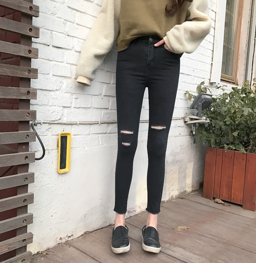 Black hole jeans waist knee spring nine female pants slim pants stretch tight pencil pants  XY4065