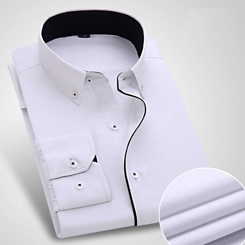 新しい到着ストライプ男性のドレスシャツフォーマルビジネス社会スリムフィットシャツクラシック長袖非鉄シャツいいえポケット