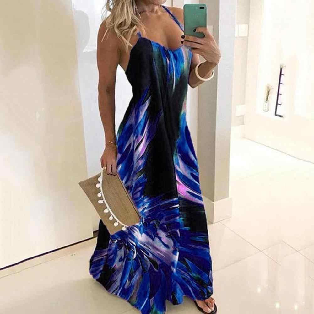 Vestido largo informal sin mangas con estampado colorido de tirantes finos a la moda para mujer vestidos de fiesta de noche ropa mujer