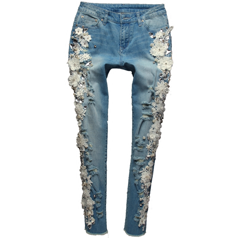 新 2018 フラワービーズダイヤモンドジーンズ女性デニムパンツファッションプラスサイズズボンストレッチジーンズをリッピング A518  グループ上の レディース衣服 からの ジーンズ の中 1