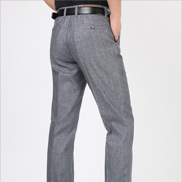 Мужчина случайно плюс размер летние прямые брюки мужчины Среднего Возраста талии Тонкий прямой брюки мужские весна осень твердые брюки