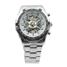 цена на Fashion Mens Watches Stainless Mechanical Watch Steel Hand-Winding Skeleton Automatic and Sport Wrist Watch 5LI8 6T3M smt 89