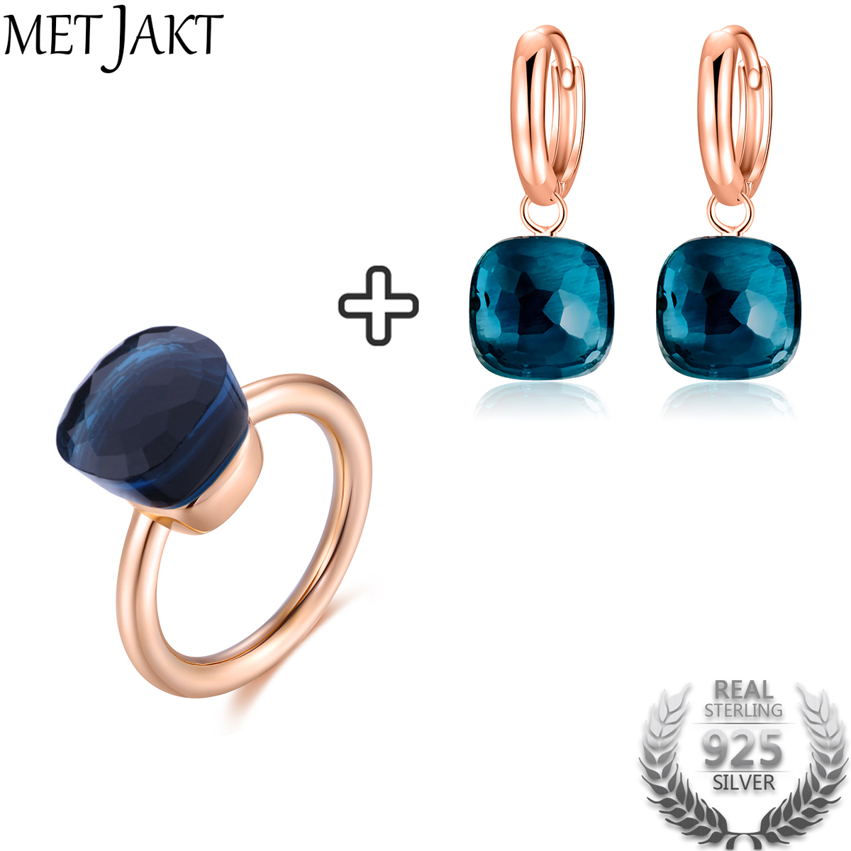 MetJakt Classic Blue Topaz Earring Ring Solid 925 Sterling Silver with Rose Gold Color Jewelry Sets