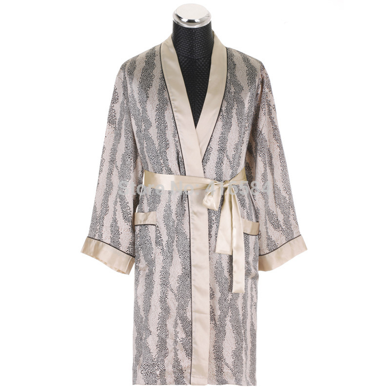 Luxury Silk Robes For Men Leopard Satin Dressing Gown For Men Long
