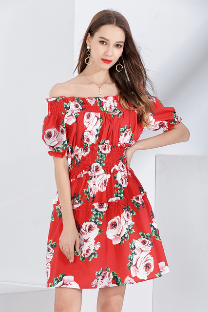 a8f545a4fa TUHAO pista calle mujeres Bohe vestidos 2018 Verano de manga corta  impresión Peony flor señora la Oficina del vestido en verano