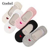 Goebel Women Summer Boat Socks Invisible Breathable Woman Heart Socks Comfortable Small Fresh Ladies Cotton Socks