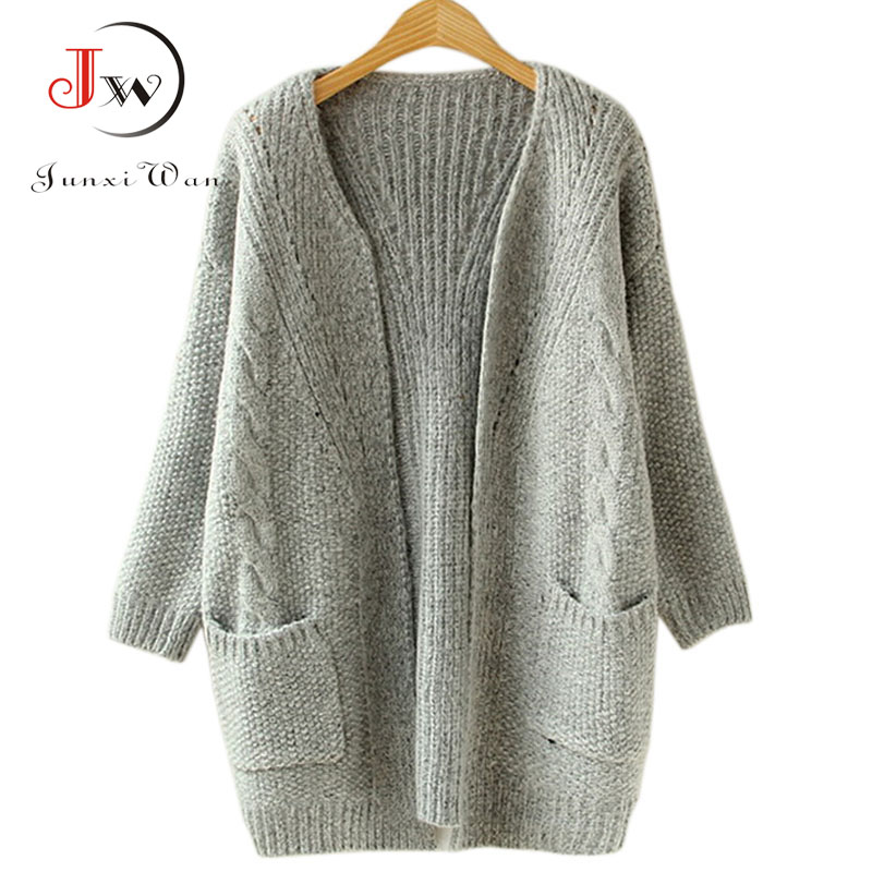 2016 Autumn Korean Version Solid Color Pocket Loose Sweater Female Long Cardigan Sweaters pull femme Oversized Winter Coat