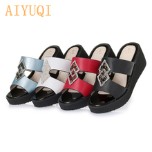 AIYUQI Women's sandals 2019 new summer slippers women genuine leather wedge shoes for women Fashion Crystal Bling Slipper women buyiniao 2017 new summer cool women wedge sandals vintage style genuine leather slippers floral printing sandalias femininas