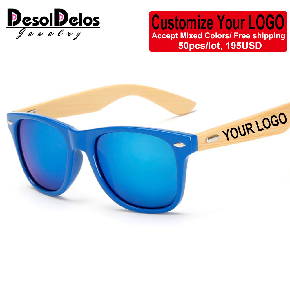Wholesale Custom Logo Bamboo Arms Sunglasses Men Wooden Sunglasses Women Original Wood Sun Glasses Customerized 50