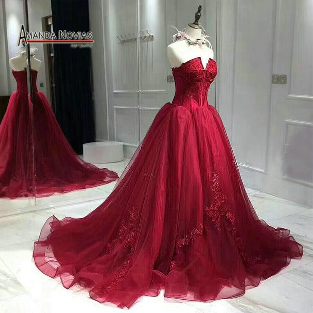 2018 New Wine Red Wedding Dress Back Lace Up Real Pictures in