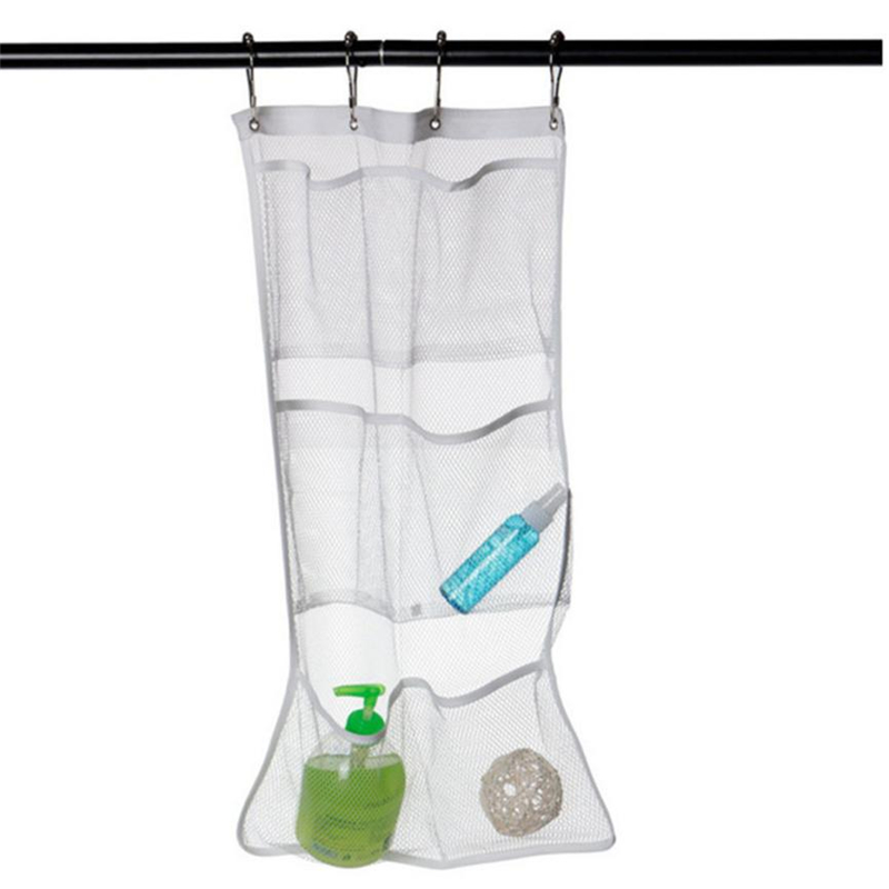 2018 New 6 Pocket Bathroom Tub Shower Bath Hanging Mesh Home Organizer Caddy Storage Bag+ Hook Easy to Clean hot sale C0205