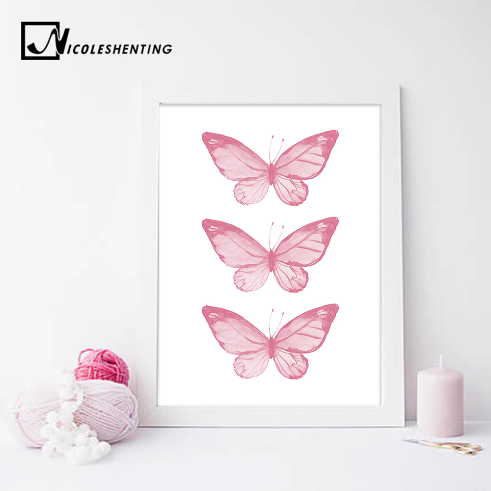 Pink Butterfly Wall Art Posters Nursery Prints Nordic Style Painting ...
