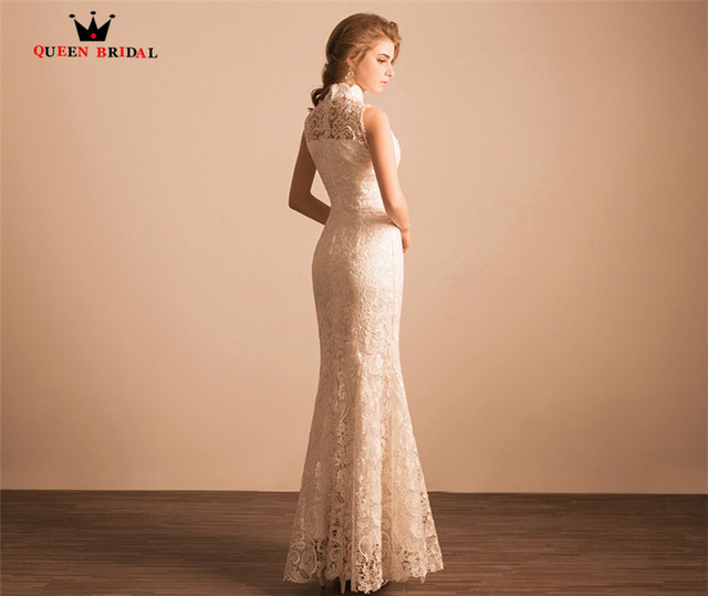 QUEEN BRIDAL Evening Dresses Mermaid High Neck Lace Sexy Long Formal Party Prom Dress Evening Gowns 2018 Vestido De Festa JW734