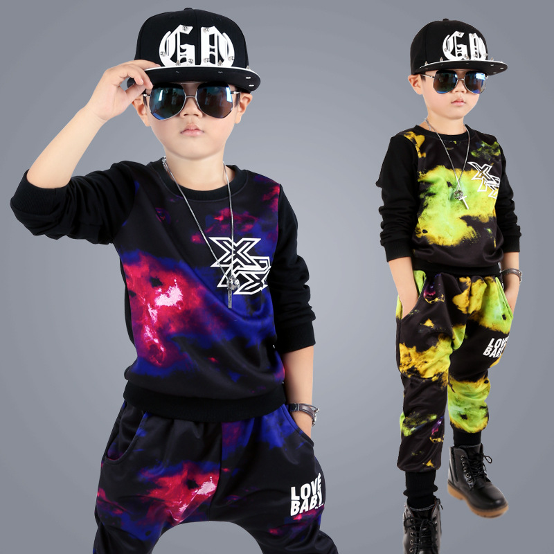 Children's clothing 2017 new boy sports suit long-sleeved trend of printing and dyeing cotton two sets of autumn 5 6 7 8 9 years
