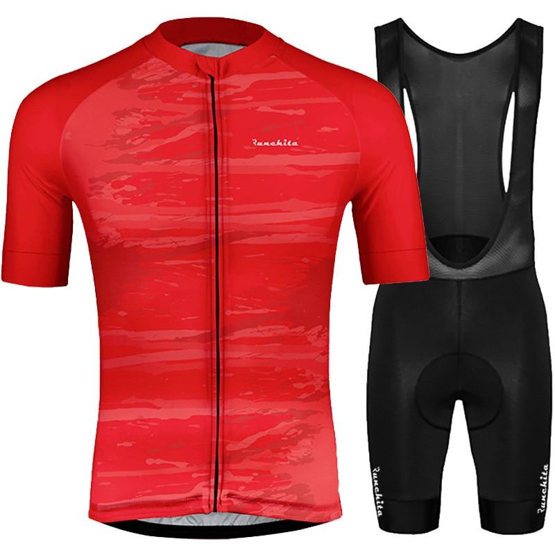 Radtrikot herren kurzarm RUNCHITA 2019 summer short sleeve cycling jersey set bib shorts bike Camisa ciclismo MTB ropa ciclismo|Cycling Sets| |  - title=