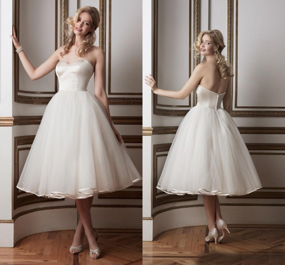 Sweetheart Off Shoulder Tea Length Wedding Dresses