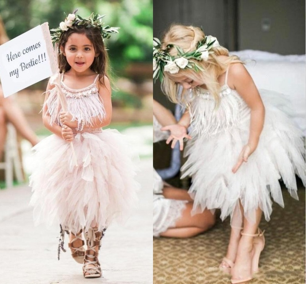 Irreguarly Tulle Flower Girl Dresses 2019 Crystal Feather Pageant Dresses For Girls First Communion Dresses Kids Prom Dresses