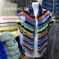 free shipping women real fur coat colorized real fur vest popular rex rabbit fur coat chinchilla warm waistcoat luxury vest coat
