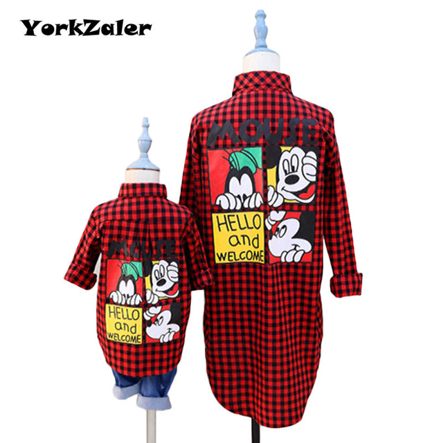 Family Matching Clothing Mother Daughter Son Clothes Outfits Spring Summer Fashion Mom And Kids Red Plaid Shirt Family Look