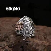 SOQMO PUNK Buddha Ring 100% Real 925 Sterling Silver Two Face Devil Skull Vintage friendship rings infinity women men jewelry