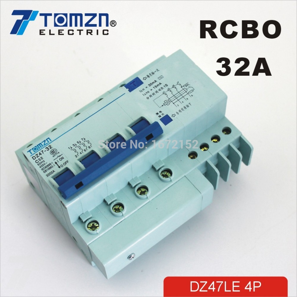 DZ47LE 4P 32A 400V~ 50HZ/60HZ Residual current Circuit breaker with over current and Leakage protection RCBO