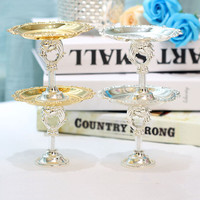 Mini Cake topper stand Cake plates Cake topper wedding in pair with crystal stems Dessert dish Cake tools