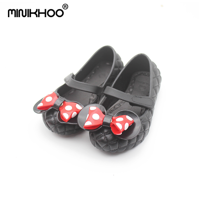 Mini Melissa 2018 Summer New Mickey Bowknot Girl Jelly Sandals Baby Sandals Mini Melissa Children Shoes Lovely Beach Sandals