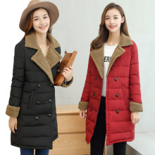 Winter New Korean Suit Collar Jacket Female Long Section Large Size Slim Atmospheric Down Jacket Lamb Fur Coat Wild Cotton B149(China)