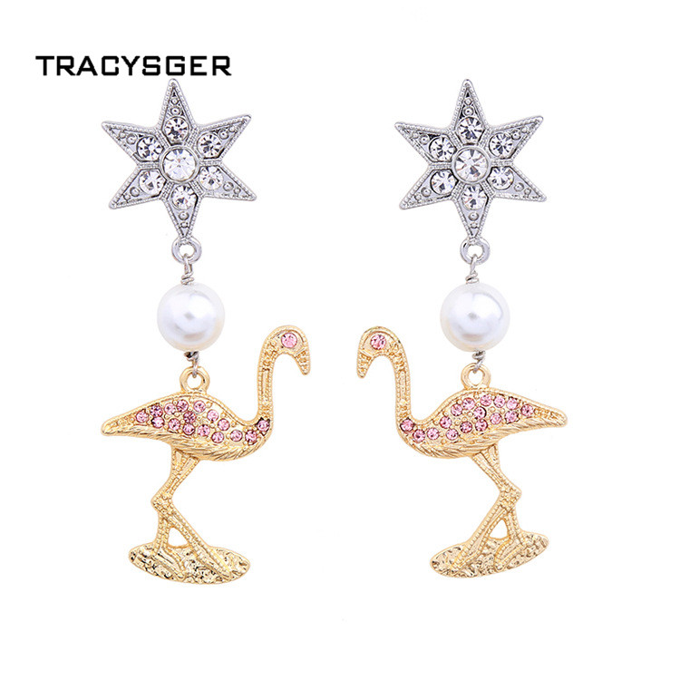 Ed00644b/tracysger/ювелирные изделия Ретро Жемчужина леди звезды Фламинго серьги