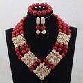 Conjuntos de Joyas de Oro de lujo de Cuentas de Coral Rojo Colgante de Collar Fornido Conjunto 2017 Novia WD913 Jewlery Envío Libre