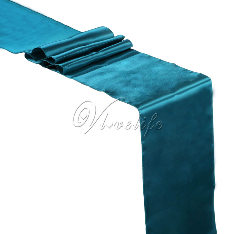 5PCS Teal Blue Satin Table Runners 12