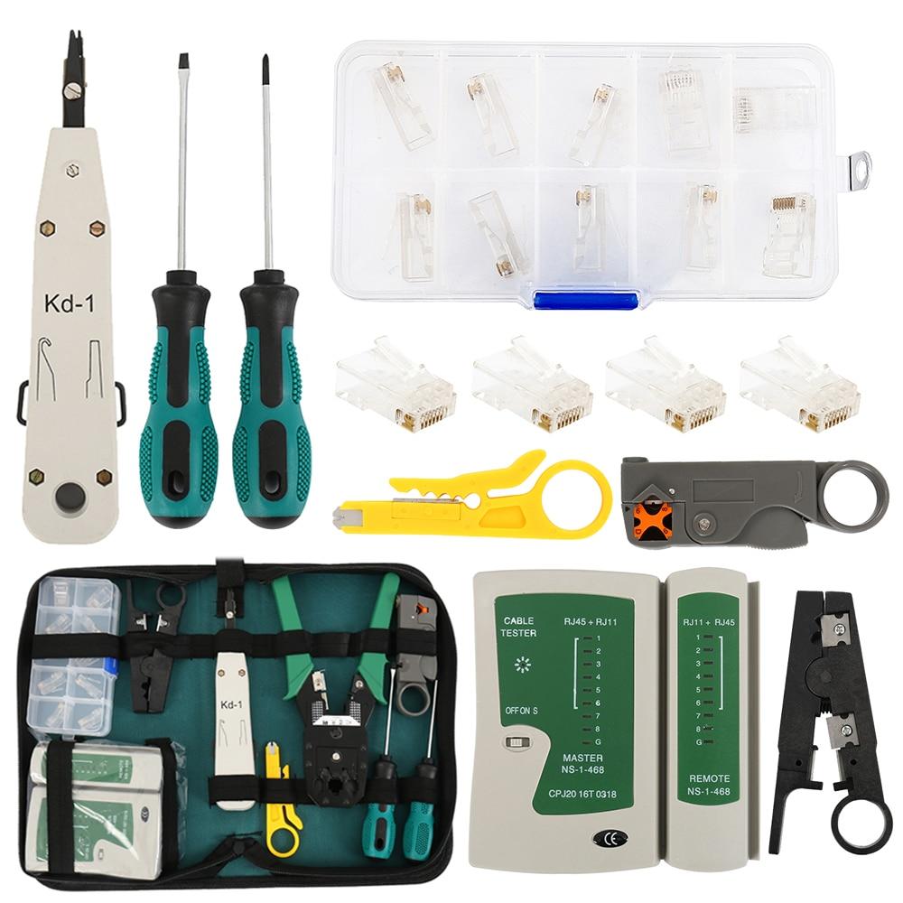 11pcs/set Portable LAN Network Repair Tool Kit Cable Tester AND Plier Crimp Crimper Plug Clamp PC