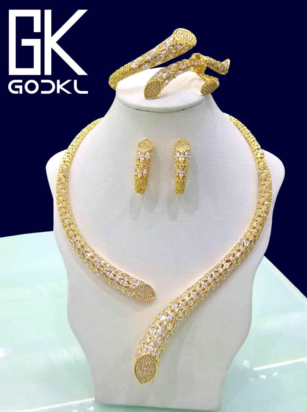 Juegos de joyería nigeriana de Zirconia cúbica de geometría de lujo de GODKI para mujer, conjuntos de joyas de oro de Dubái indio para mujer-in Conjuntos de joyería from Joyería y accesorios    1