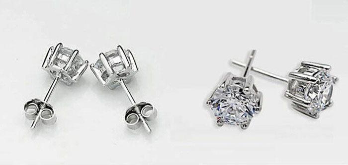 Sterling Silver Small Earrings Black Stud Cz Diamond For Men White Gold Plated Ear Studs Cubic Zircon In From